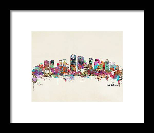 New Orleans Framed Print featuring the painting New Orleans Louisiana Skyline by Bri Buckley