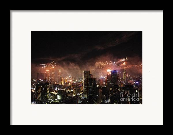 Fireworks Framed Print featuring the photograph New Year Fireworks by Ray Warren