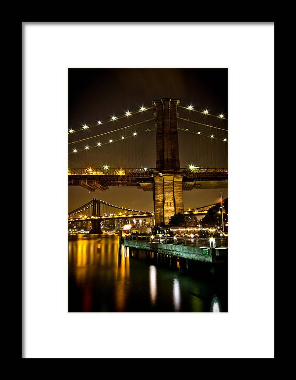 New York Framed Print featuring the photograph New York - Brooklyn Bridge Night by Amador Esquiu Marques