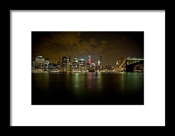 New York Framed Print featuring the photograph New York - Night Skyline II by Amador Esquiu Marques