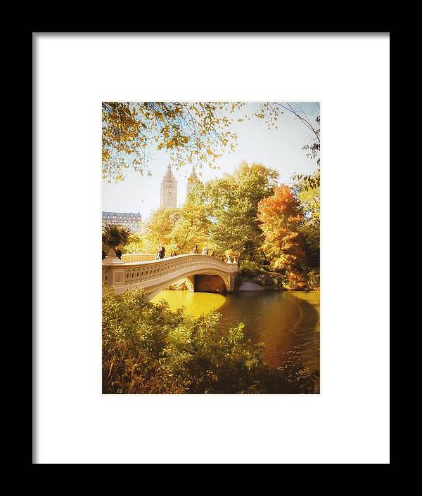 Nyc Framed Print featuring the photograph New York Autumn - Central Park - Bow Bridge by Vivienne Gucwa
