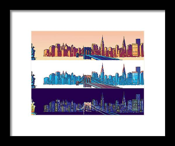 Ny Framed Print featuring the digital art New York City - All Day by Sam Shacked