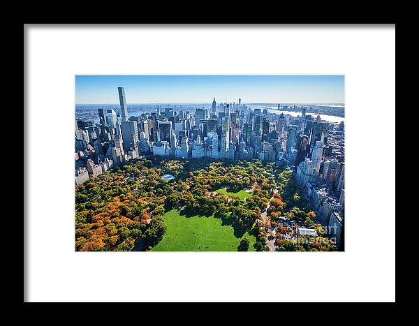 Central Park Framed Print featuring the photograph New York City Skyline, Central Park by Dszc