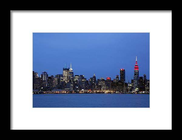 Umpire State Building Framed Print featuring the photograph New York City Skyline by Dan Peak