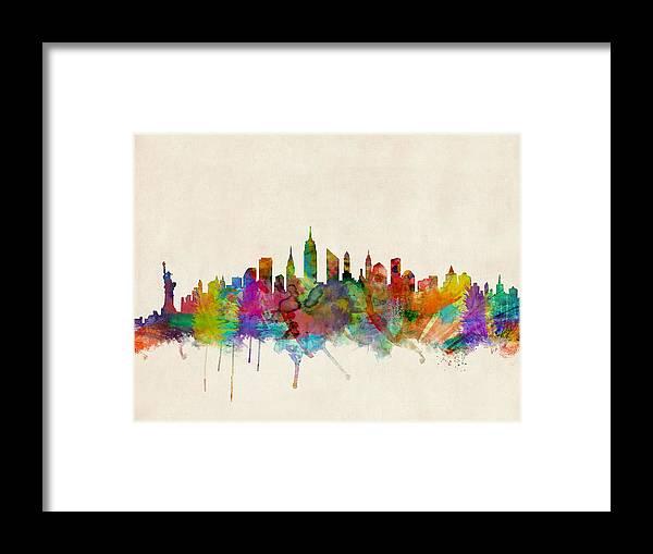 New York Framed Print featuring the digital art New York City Skyline by Michael Tompsett