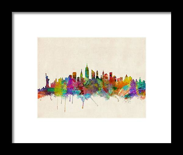 New York Framed Print featuring the digital art New York City Skyline by Michael Tompsett