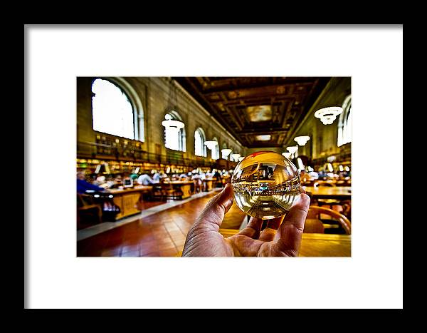 New York Framed Print featuring the photograph New York In My Hand - Public Library by Amador Esquiu Marques
