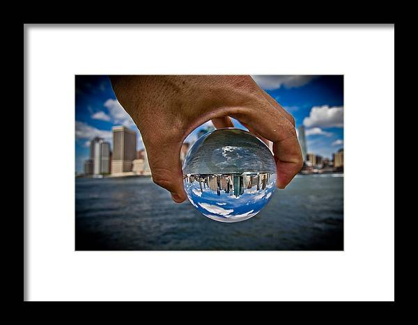 New York Framed Print featuring the photograph New York In My Hand - Sferic Manhattan by Amador Esquiu Marques