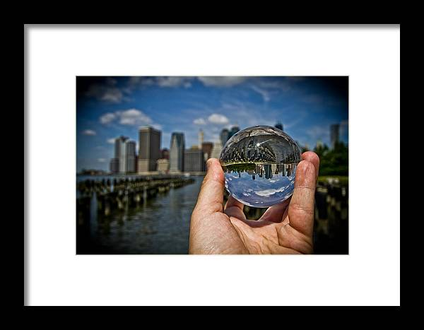 New York Framed Print featuring the photograph New York In My Hand - Sferic Manhattan II by Amador Esquiu Marques