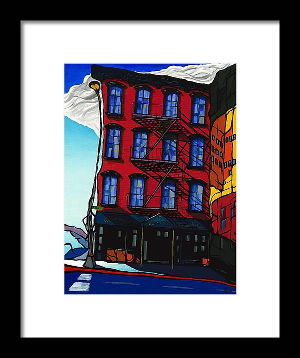 New York Framed Print featuring the painting New York Manhattan Building by Janos Fulop