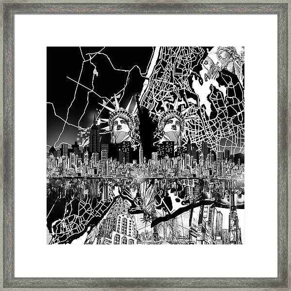 New York Map Black And White.New York Map Black And White 2 Framed Print By Bekim Art