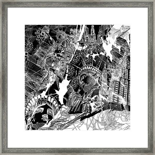 New York Map Black And White.New York Map Black And White Framed Print By Bekim Art