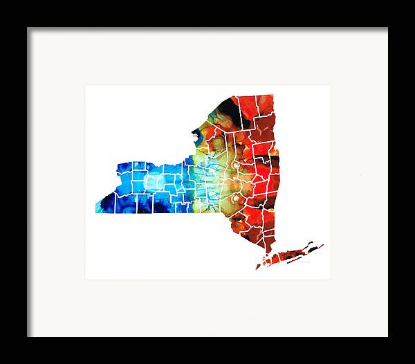 New York Map Framed Print featuring the painting New York - Map By Sharon Cummings by Sharon Cummings