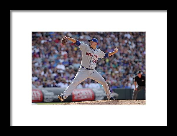 Relief Pitcher Framed Print featuring the photograph New York Mets V Colorado Rockies by Doug Pensinger