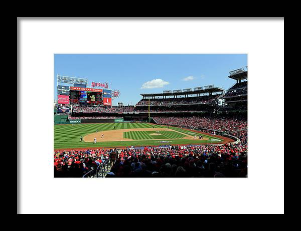 American League Baseball Framed Print featuring the photograph New York Mets V. Washington Nationals by Alex Trautwig