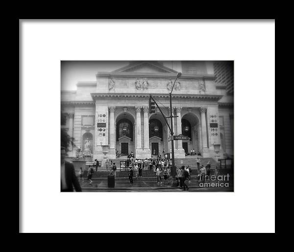 After The Rain Framed Print featuring the photograph New York Public Library - After The Rain by Miriam Danar