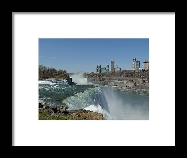 Niagara Falls Framed Print featuring the photograph New York Side Of Niagara Falls by Gothicrow Images