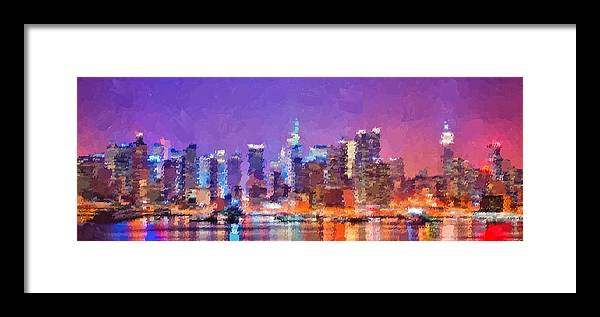 New Framed Print featuring the painting New York City - Skyline by Samuel Majcen