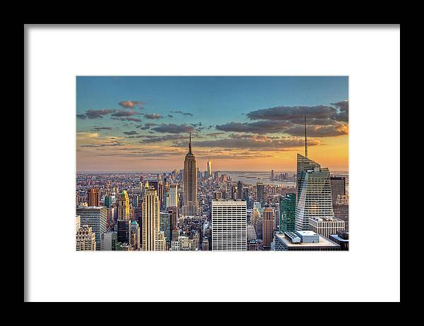 Tranquility Framed Print featuring the photograph New York Skyline Sunset by Basic Elements Photography