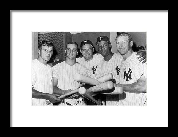 1950's Framed Print featuring the photograph New York Yankee Sluggers by Underwood Archives