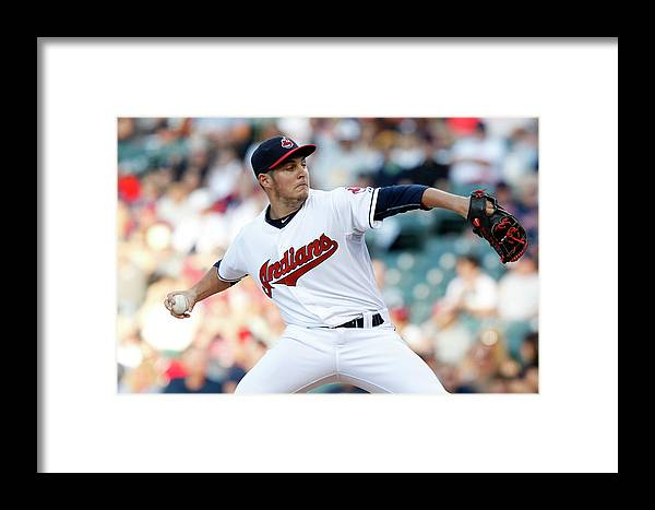 Three Quarter Length Framed Print featuring the photograph New York Yankees V Cleveland Indians by David Maxwell