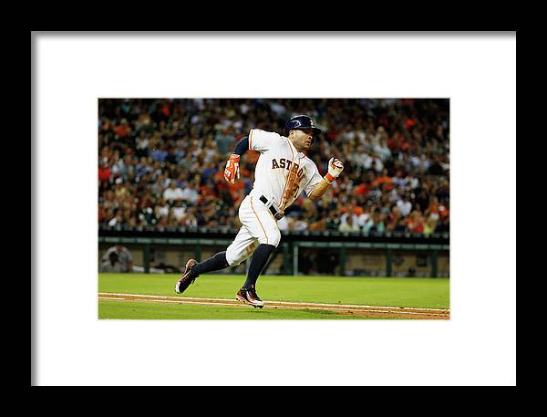 People Framed Print featuring the photograph New York Yankees V Houston Astros by Scott Halleran