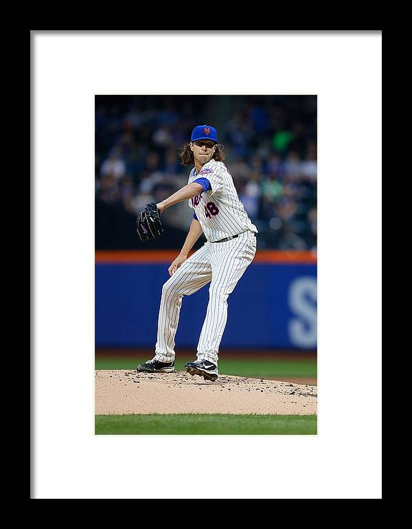 Jacob Degrom Framed Print featuring the photograph New York Yankees V New York Mets by Mike Stobe