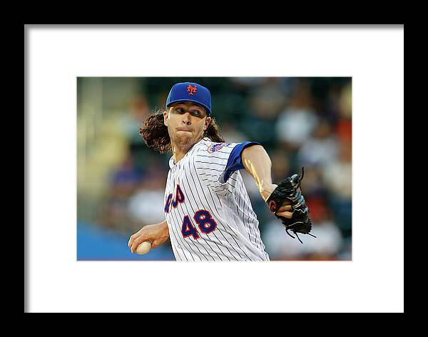 Jacob Degrom Framed Print featuring the photograph New York Yankees V New York Mets by Rich Schultz