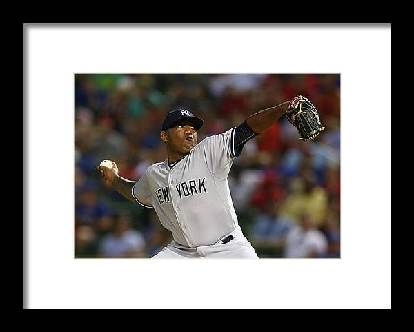 American League Baseball Framed Print featuring the photograph New York Yankees V Texas Rangers by Ronald Martinez