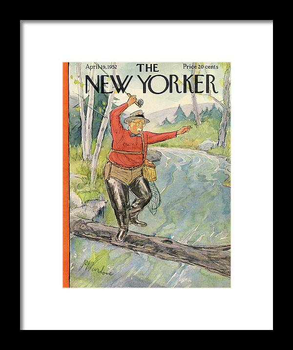 Fish Framed Print featuring the painting New Yorker April 19th, 1952 by Perry Barlow