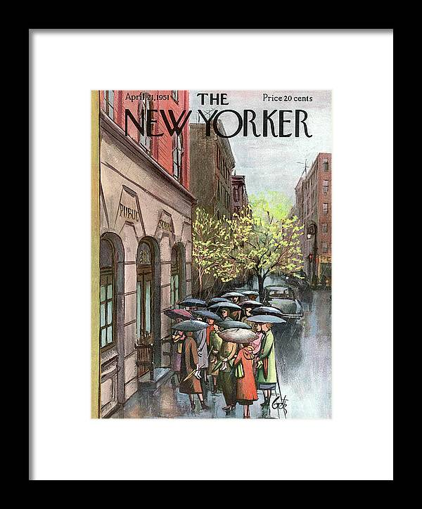 Urban Framed Print featuring the painting New Yorker April 21st, 1951 by Arthur Getz