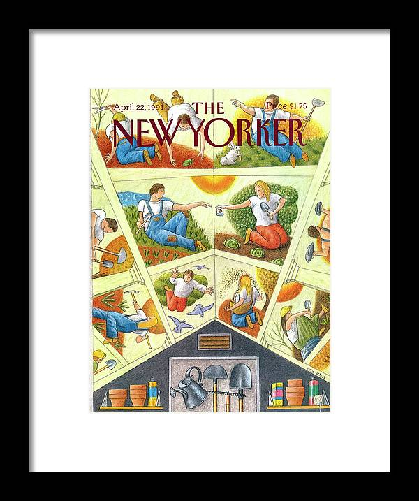 The Ceiling Of A Gardening Shed Resembling Michelangelo's Sistine Chapel Depicts Images Related To Planting And Yard Work. Framed Print featuring the painting New Yorker April 22nd, 1991 by Bob Knox