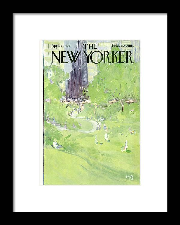 Urban Framed Print featuring the painting New Yorker April 24th, 1971 by Arthur Getz