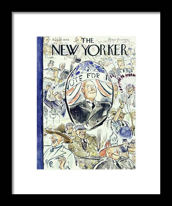 Political Framed Print featuring the painting New Yorker August 10 1940 by Perry Barlow