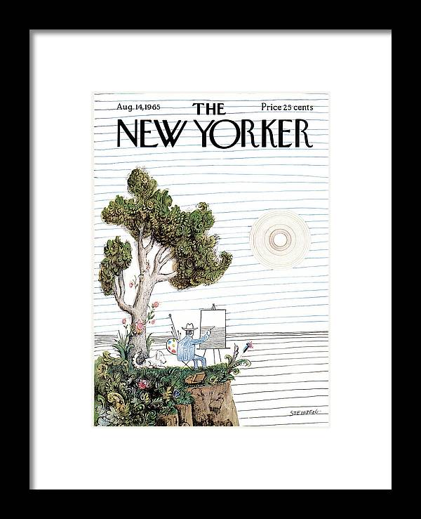 Saul Steinberg 49864 Steinbergattnyart. Artist Framed Print featuring the painting New Yorker August 14th, 1965 by Saul Steinberg