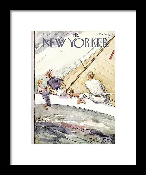 Sailing Framed Print featuring the painting New Yorker August 15, 1942 by Perry Barlow