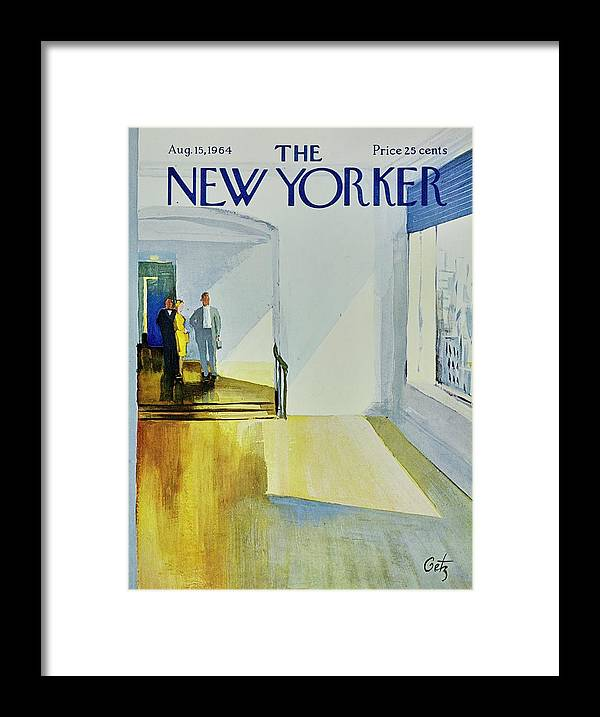 Illustration Framed Print featuring the painting New Yorker August 15th 1964 by Arthur Getz
