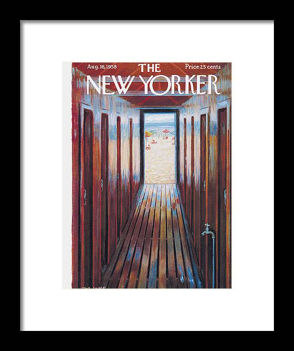 Beach Framed Print featuring the painting New Yorker August 16th, 1958 by Edna Eicke
