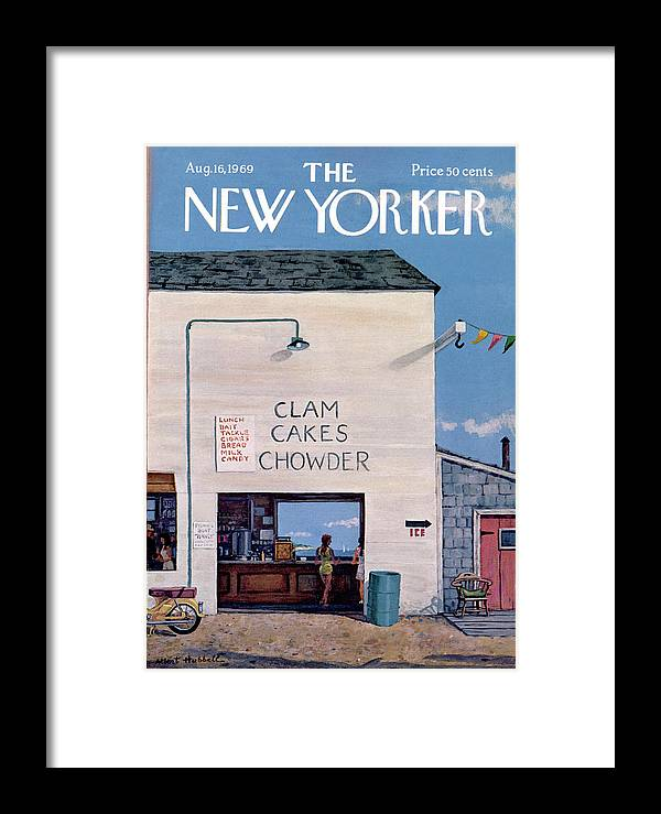 Sea Framed Print featuring the painting New Yorker August 16th, 1969 by Albert Hubbell