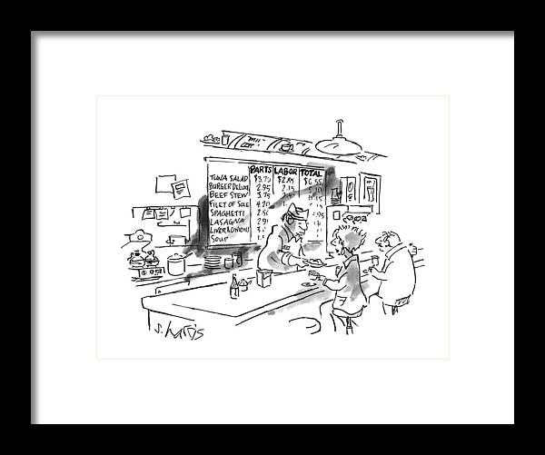 No Caption Items On Wall Menu Behind Diner Counter Are Divided Into Three Categories: Parts Framed Print featuring the drawing New Yorker August 21st, 1995 by Sidney Harris