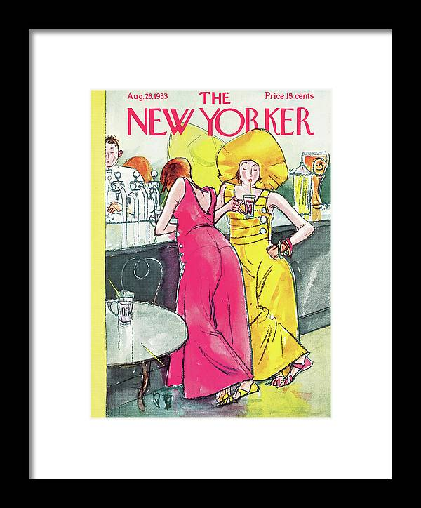 Single Women Woman Bar Speakeasy Flappers Flapper Drinks Drinking Alcohol Bartender Baggy Pants Perry Barlow Pba Perry Barlow Pba Artkey 48371 Framed Print featuring the painting New Yorker August 26th, 1933 by Perry Barlow