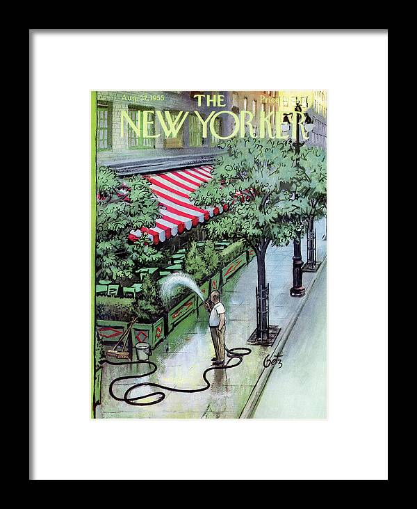 Restaurant Framed Print featuring the painting New Yorker August 27th, 1955 by Arthur Getz