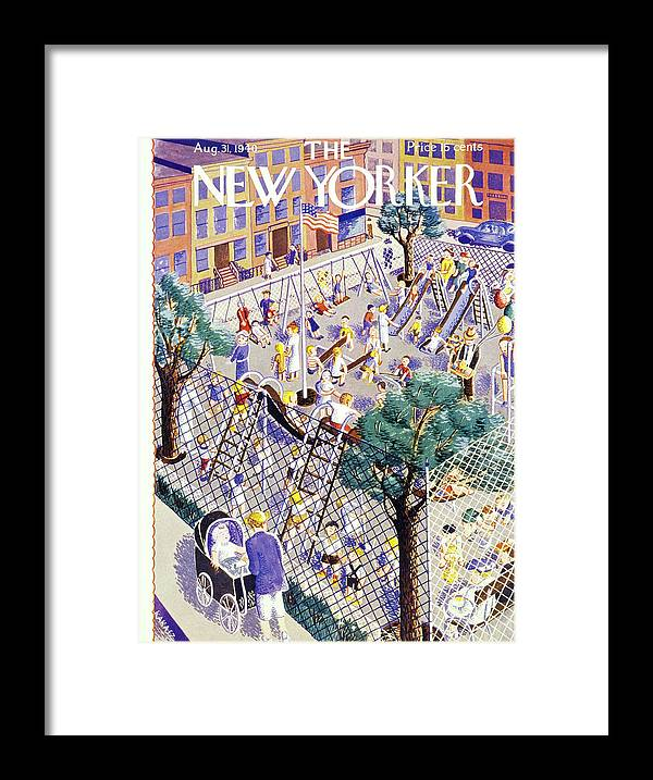 Children Framed Print featuring the painting New Yorker August 31 1940 by Ilonka Karasz