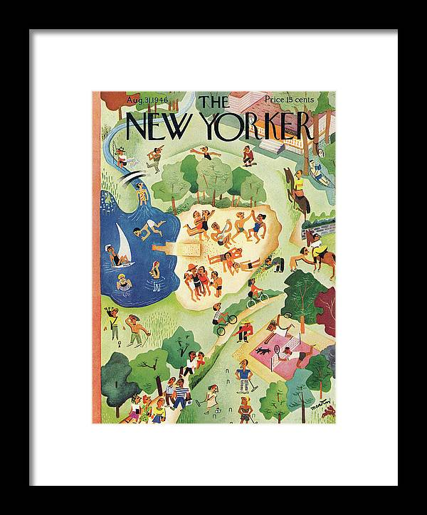 Entertainment Framed Print featuring the painting New Yorker August 31, 1946 by Charles E Martin