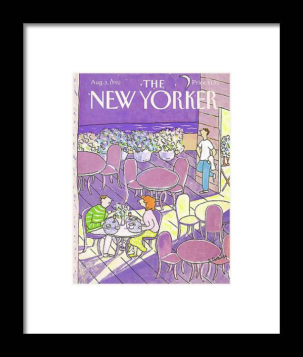 A Couple Dine On A Cafes Outdoor Patio Which Is Decorated With Large Pots Of Flowers. Meanwhile The Waiter Stands Near By As He Gazes Out Towards The Near Distant Beach. Framed Print featuring the painting New Yorker August 3rd, 1992 by Devera Ehrenberg