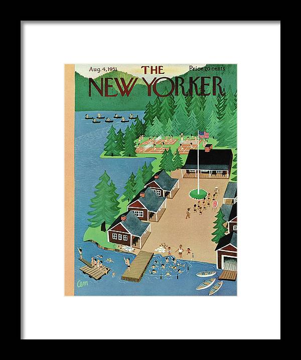 Kid Framed Print featuring the painting New Yorker August 4th, 1951 by Charles E Martin