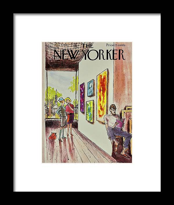 Illustration Framed Print featuring the painting New Yorker August 5th 1961 by Charles D Saxon