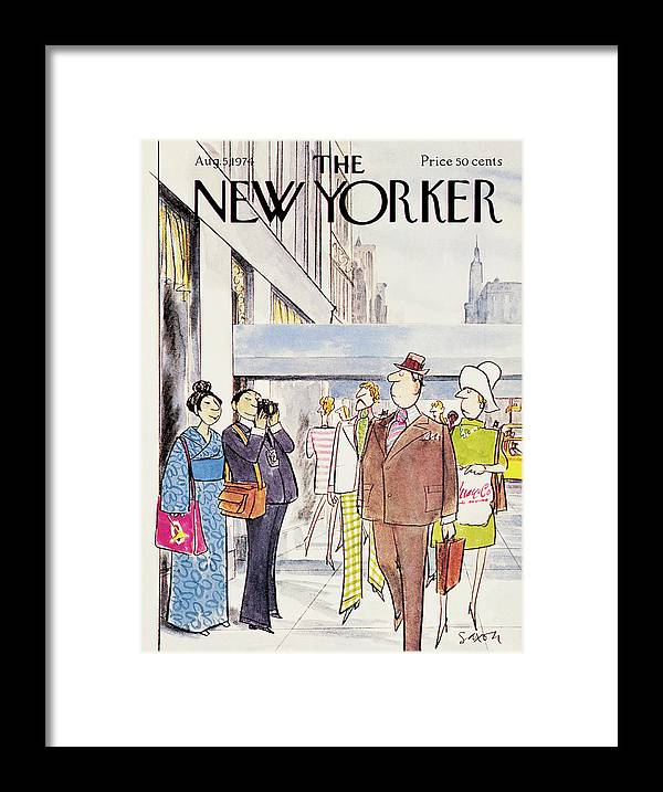 Leisure Framed Print featuring the painting New Yorker August 5th, 1974 by Charles Saxon