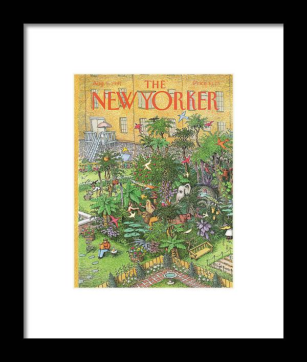 An Urban Garden Of Eden Framed Print featuring the painting New Yorker August 5th, 1991 by John O'Brien
