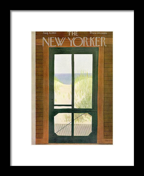 Sea Framed Print featuring the painting New Yorker August 8th, 1953 by Edna Eicke